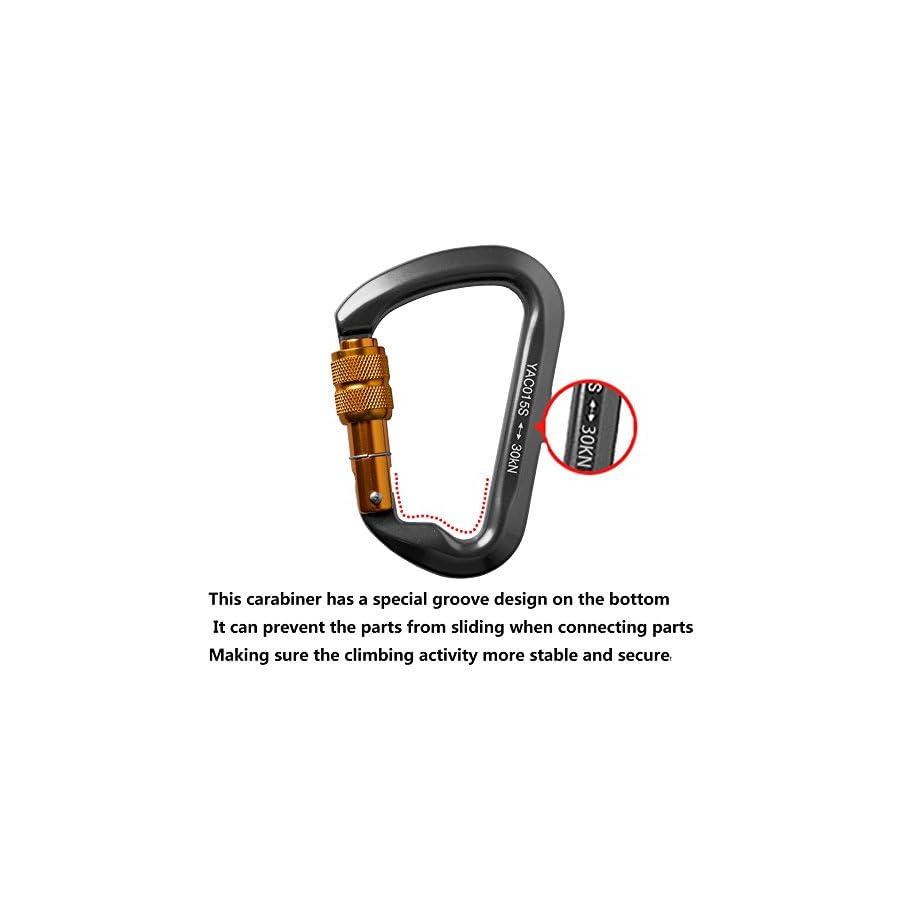 AYAMAYA 3 Pack 30kn / 3000kg Aluminum Locking Rock Climbing Carabiner D Shape Screwgate Carabiner Hook Screw Lock Carabiner Outdoor Sport Tools Dad