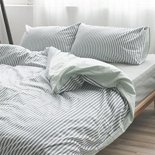 Amazon.com: Grey and White Striped Duvet Cover handmade in natural