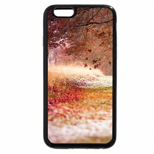 iPhone 6S Case, iPhone 6 Case (Black & White) - autumn leaves falling down