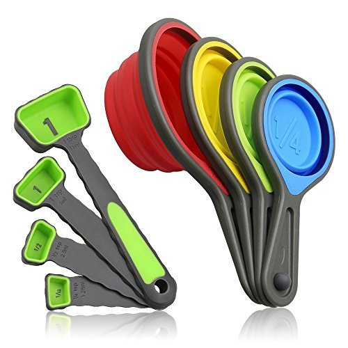 Measuring Cups and Spoons set, Collapsible Measuring Cups, 8 piece Measuring Tool Engraved Metric/US Markings for Liquid & Dry Measuring, Space Saving, BPA Free Silicone, Colorful (Best Dry Measuring Cups)