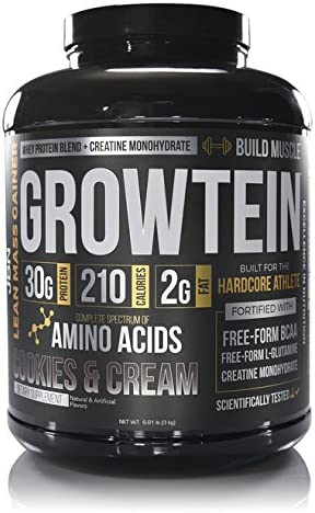 Growtein Growth Protein by JBN. 30 grams of Whey Protein Isolate and Whey Protein Concentrate. 200 Calories. 50 Servings. Creatine Monohydrate, free-form BCAA s and L-Glutamine. Vanilla Cream flavor
