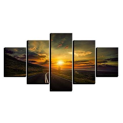 Tableau coucher de soleil et autoroute 3