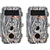 BlazeVideo 2-Pack 16MP HD Game & Trail Cameras Hunting Wildlife Deer Cameras F2.0 Lens Scouting Cam Motion Activated Waterproof with Night Vision 40pcs IR LEDs Up to 65ft, Video Record, 2.36 LCD