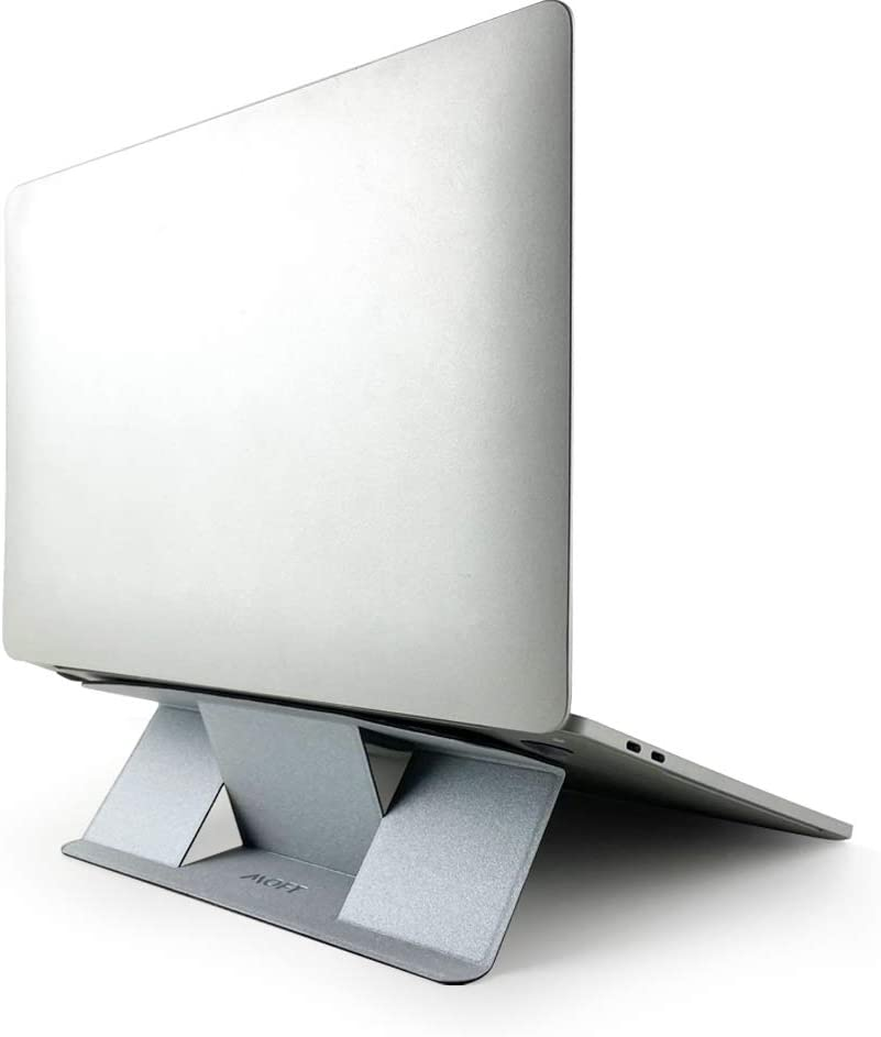 "MOFT Invisible Compact Laptop Stand, Adhesive and Reusable, Mini Version, 25° Adjustable Angle, Compatible with Laptops Up to 15.6"" (Silver)"