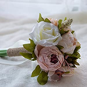 Flower Bouquet, Amoleya 6 Inch Wedding Bouquet Artificial Flowers for Bride and Bridesmaids 105