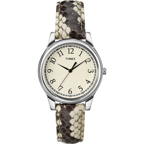 Timex Women's T2p088 Black/white Python Patterned Leather Strap Watch Steko LTD