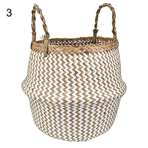 (EOS&HELIOS Misszhang-US Stylish Seagrass Woven Foldable Toy Clothes Plants Basket Home Storage Bucket 2# XL)