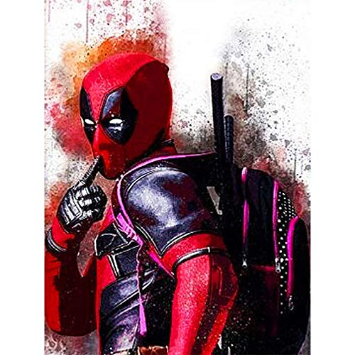 DIY 5D Diamond Painting Kits, Full Drill Crystal Rhinestone Diamond Embroidery Paintings Pictures, Household Arts Craft for Adults 12x16Inch,Deadpool]()