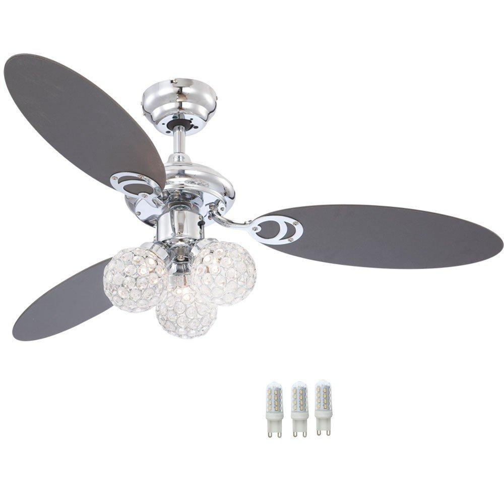 9 Watt LED Decken Ventilator Kristall Kugel Kugel Kugel Lampe Wohnraum Kühler Leuchte 7d636e