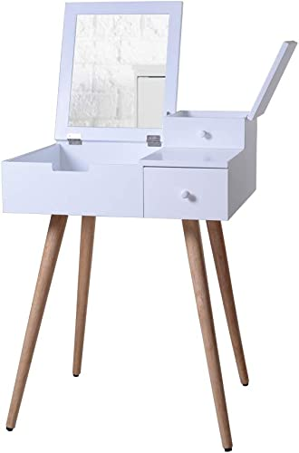 Organizedlife White Mirror Vanity Dresser Table with Drawers
