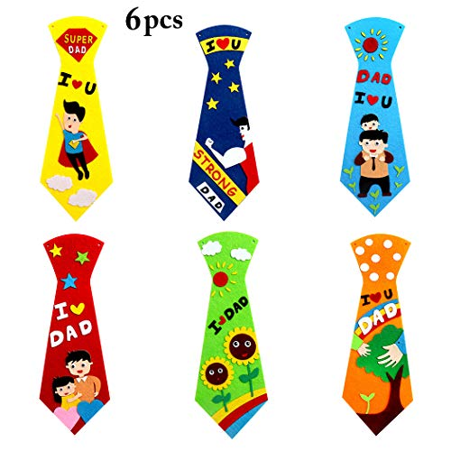Joyibay 6 Sets Father's Day DIY Necktie Creative Craft Making Kit for Kids -