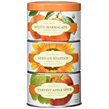 Tea Forte LOOSE LEAF TEA TRIO, 3 Small Tea Tins, Herbal Tea Sampler - Mojito Marmalade, African Solstice, Harvest Apple Spice