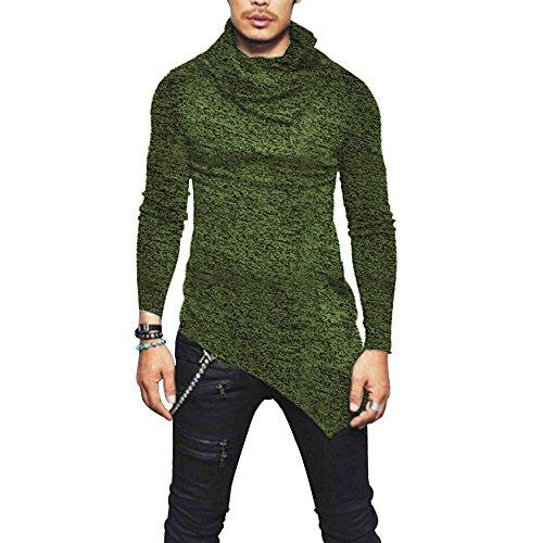 Men Cotton T-Shirts Turtleneck Asymmetric Curved Hem Fit Slim Snowflake Pullover Hoodies (Green, ()