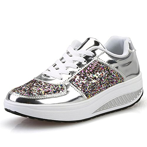 Sneakers Piattaforma Scarpe Shake Paillettes Argento Kword Donna Tacco Sport Cunei Scarpe Spessore Scarpe Scarpe Zeppe Sneakers Donne Scarpe Ragazze 6XwwZCqxg