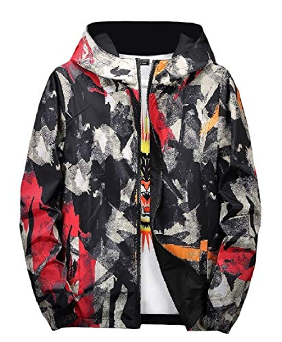 up Mens Zip Camo Black Sides Wear Coat Print Graffiti Hood Both Mogogo Jacket dxXIF6F