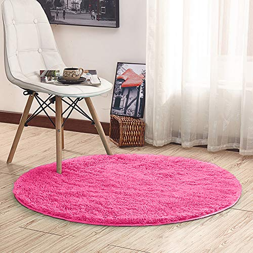 Noahas 4-Feet Luxury Round Area Rugs Super Soft Living Room Bedroom Carpet Woman Yoga Mat, Rose Red