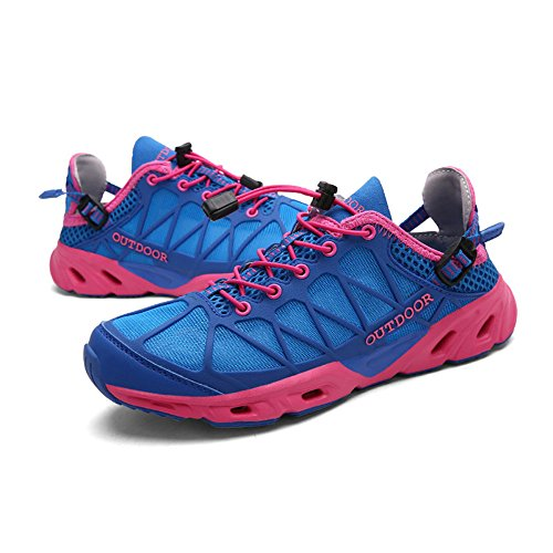 Skid Level Women Shoes Leather Anti Hiking Off Lightweight Low Road Hiking Blue2 Trekking Outdoor Shoes Ladies FagzqwPxn