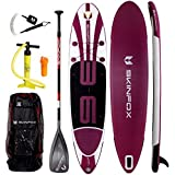 SKINFOX AKTIONS-ANGEBOT SUP WHALE CARBON-SET+Leash weiss-violett Paddelboard Stand-up aufblasbares SUP Board 365x80x15cm (190kg Tragkraft)