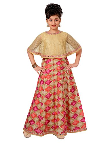 (ADIVA Girl's Indian Party Wear Gown for Kids (G-1778-RANI-24))