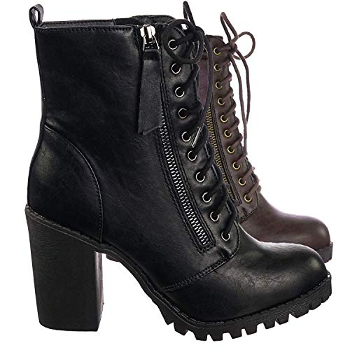 SODA Malia Vegan Round Toe Stacked Lug Heel Lace Up Ankle Booties Black (8.5) (Lace Up Platform Boots)