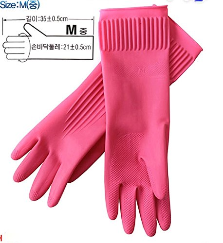Kitchenware Mamison Superior Quality Rubber Gloves Pink Size M