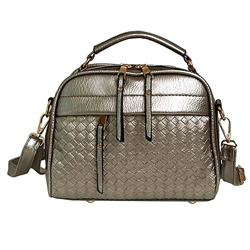 PU Leather Crossbody Gold Bag Ladies Shoulder Women Weaving Fashion Grey Weaving Domybest tYq07pww