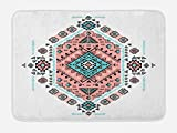 Ambesonne Tribal Bath Mat, Mexican Native American Ethnic Symmetrical Design Four Corner Art Pattern, Plush Bathroom Decor Mat with Non Slip Backing, 29.5 W X 17.5 W Inches, Teal and Coral Pink