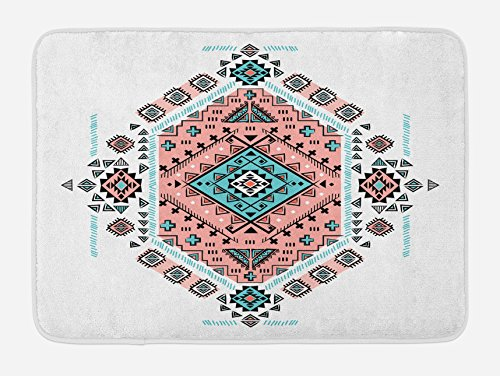 Ambesonne Tribal Bath Mat, Mexican Native American Ethnic Symmetrical Design Four Corner Art Pattern, Plush Bathroom Decor Mat with Non Slip Backing, 29.5 W X 17.5 W Inches, Teal and Coral Pink by Ambesonne