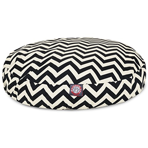 Black Chevron Small Round Indoor Outdoor Pet Dog Bed With Re