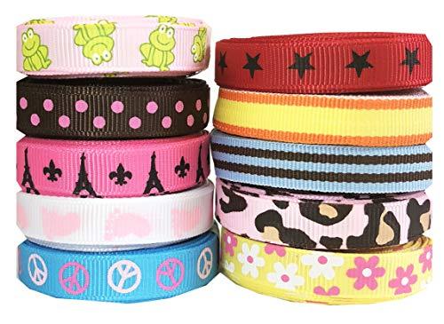 Ribbon for Crafts, HipGirl Boutique Printed Grosgrain Ribbon Sampler (50yd 3/8