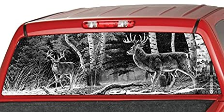 Amazoncom DEERs In A FORREST BW Rear Window Graphic Decal Tint - Rear window hunting decals for trucksamazoncom truck suv whitetail deer hunting rear window graphic