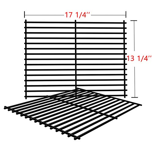 SHINESTAR Grill Grates for Charbroil 463241113, 463411911, Master Forge 1010037, Nexgrill, Kenmore, Set of 2 Porcelain Steel Grill Parts Cooking Grates-(17-1/4 x 13-1/4) (Cooking Grate Small)