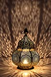 Moroccan Vintage Lantern Lights Lamp Ziva 30cm Gold Large | Oriental Garden Outdoor Hanging Lanterns for Candles as Decorations | Arabian Indoor Candle Tea Light Holders as Indian Party Home De