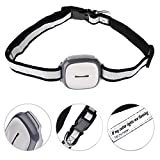 GPS Pet Tracker with LED Light Adjustable Collar Waterproof Remote Cell Phone Locator for Medium Large Dogs Gray