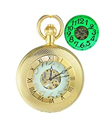 OGLE Waterproof Gold Roman Chain Large Digital Noctilucence Fob Self Winding Automatic Skeleton Mechanical Pocket Watch