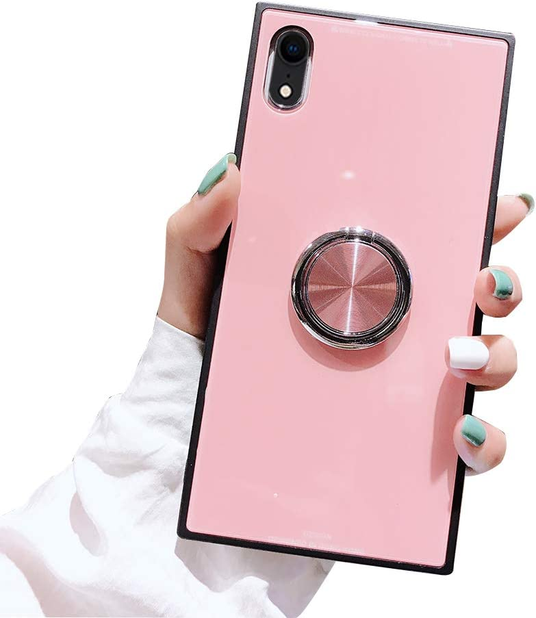 Muntonski I Xr Square Phone case Compatible with Apple iPhone X R Case Ring Holder Rotating Protective Coque Thin 10r Rx Xphone Bumper for Women 6.1 Inch (Pink)