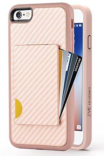 iPhone 6s Wallet Case, iPhone 6 Card Holder Case, ZVEdeng Shockproof iPhone 6s Credit Card Case Carbon Fiber Design Slim Purse Protective Wallet Case iPhone 6 / 6s 4.7 Rose Gold