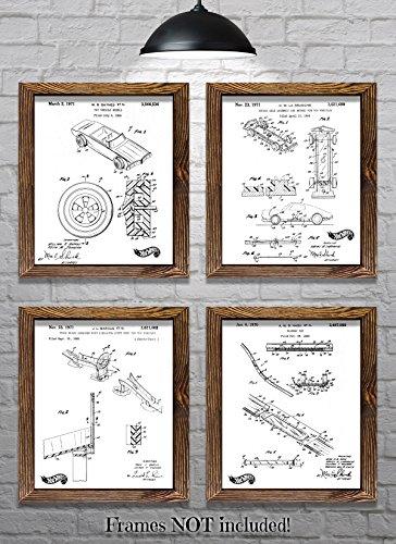 Hot Wheels Posters - Hot Wheels Decorations - Original Vintage Mattel Hot Wheels Patent Prints - Set of Four 8