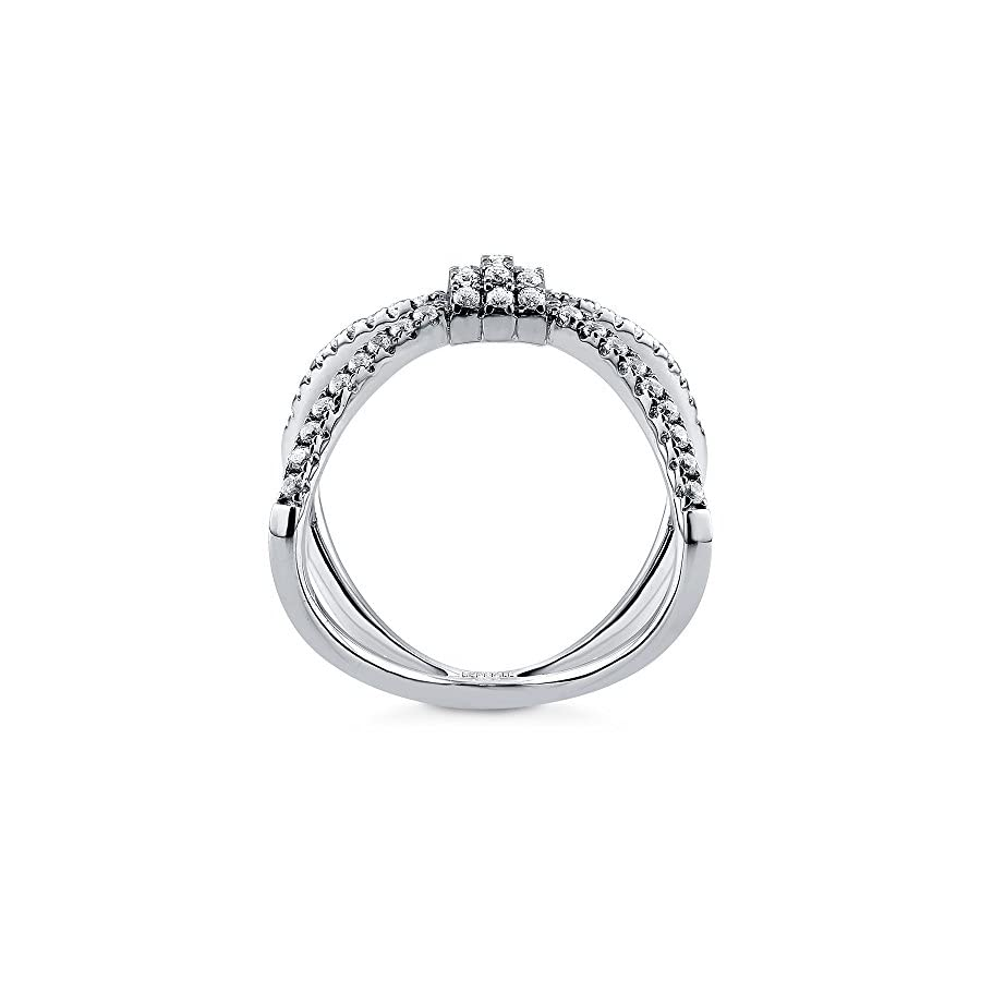 BERRICLE Rhodium Plated Sterling Silver Cubic Zirconia CZ Criss Cross Fashion Right Hand Ring