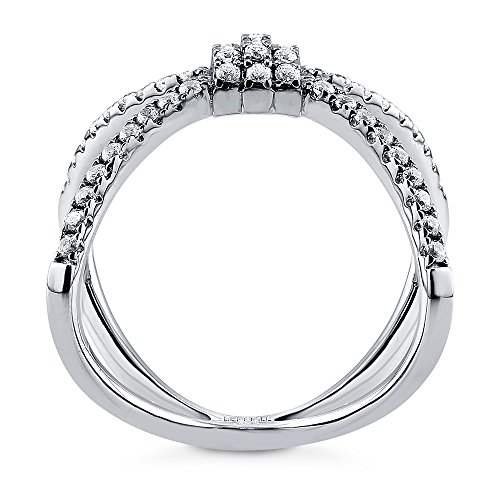 BERRICLE Rhodium Plated Sterling Silver Cubic Zirconia CZ ...