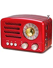 J-160 Retro Bluetooth Radio AM FM Portable Transistor Radio with Excellent Reception, Vintage Style, Long Lasting Rechargeable Battery, Support TF Card AUX USB MP3 Player (Red)
