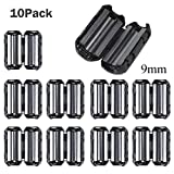 [Pack of 10] Black Ferrite Core Ring Filter Cable Clip Anti-Interference High-Frequency Filter RFI EMI Noise Suppressor Cable Clip for USB/Audio / Video Cable Power Cord Black (9mm, Black)
