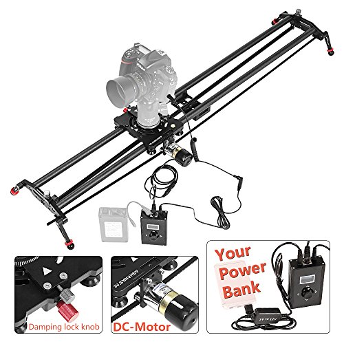 "ASHANKS 31""/80CM Carbon Slider Follow Focus Pan Motorized Electric Control Delay Sliders Slider Dolly Track Rail for Timelapse Photography"