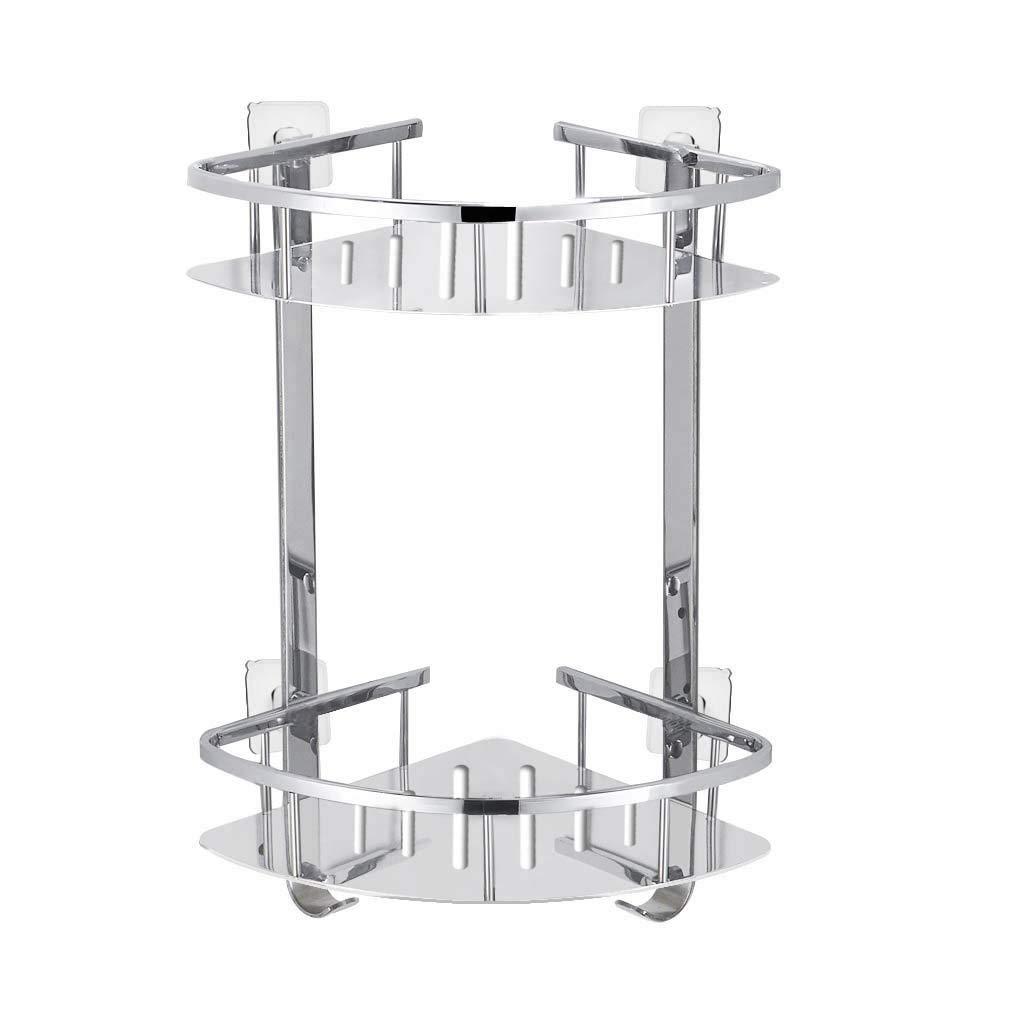 Foccoe, mensola per doccia doccia angolare con ripiani, cestino angolare a due livelli in acciaio INOX, organizzatore con montaggio a parete