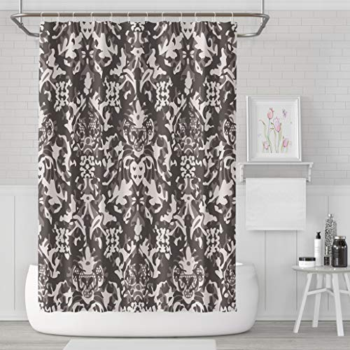 Asoco Shower Curtain Set with 12 Hooks Distressed Damask TilePolyester Fabric Waterproof Bath Curtain 72X78 Inches Decortive Bathroom ()