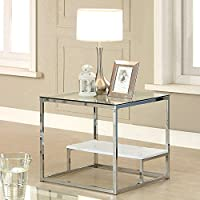 Furniture of America Gacelle Contemporary Glass Top End Table, White