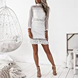 Gyoume Lace Skater Dress Teen Graduation Ceremony Dress Business Office Include Belt Dress (S, White)