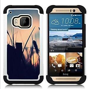 """HTC One M9 /M9s / One Hima - 3 en 1 impreso colorido de Altas Prestaciones PC Funda chaqueta Negro cubierta gel silicona suave (El campo de verano"""")"""