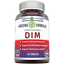 Amazing Formulas DIM Supplement – DIM (Diindolylmethane) Supports Healthy Estrogen Levels For Continued Good Health, Weight Management – Each Tablet Has 100 Mg Of DIM (Diindolylmethane) Along Vitamin