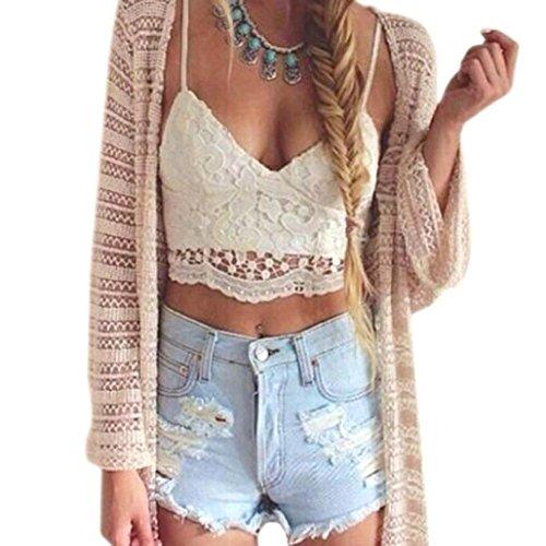 Lisingtool Women's Crochet Tank Camisole Lace Blouse Bralette Bra Crop Top